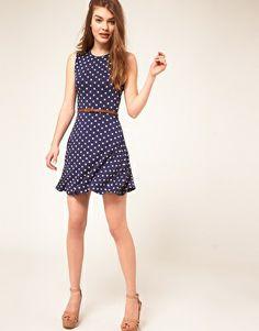 Enlarge ASOS Sleeveless Skater Dress With Belt In Spot Print