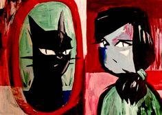 Mirror #comic art #alternative japanese manga #redgreenblue #catty painting #acrylic portrait #ネコ猫ねこ