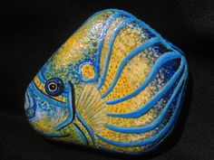 Tropical Angel Fish Hand Painted on Stone / Rock Fine  Art on Etsy via Etsy