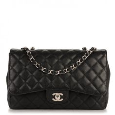 This authenticCHANEL Caviar Quilted Jumbo Single Flap in Black. This classic handbag is crafted of finely grained caviar diamond quilted leather in black.