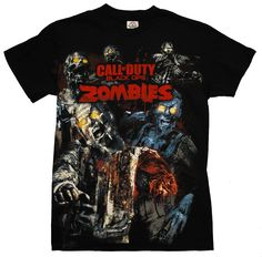Call Of Duty Black Ops Zombies Mode Video Game Adult T-Shirt Tee: Clothing