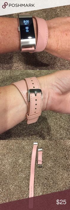 Fitbit Charge HR 2 band Leather band only. Super cute pink double wrap band. Accessories Watches