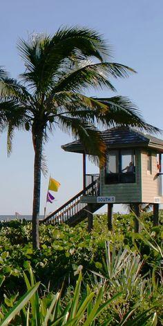Delray Beach lifeguard stand in fantastic Delray Beach Florida. Great Palm Beach County city with ocean views and super Palm Beach ocean access. #delraybeach