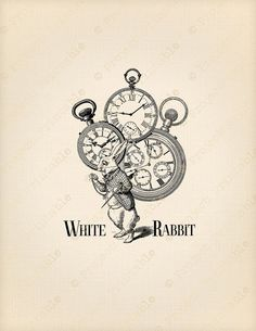 White Rabbit ALICE in WONDERLAND Printable Instant Download Clipart - watch clock time graphics - Digital Image Fabric Transfer collage