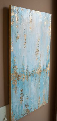 """12"""" x 24"""" gold leaf abstract painting with light teals and blue"""