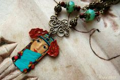 Gypsy Princess hand painted pendant Art Nouveau by lilruby on Etsy, $75.00