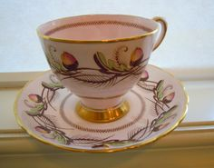 Tuscan Pink Acorns Teacup and Saucer Fine by TallulahsVintage