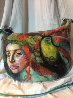 wearable art purse made by wet and needle felting