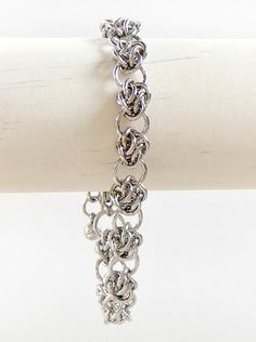Flower Chainmaille Bracelet in Stainless Steel All Stainless Steel, Stainless Steel Jewelry, Chainmaille Bracelet, Handmade Bracelets, Diamond, Floral, Rings, Jewels, Flowers