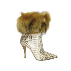 Le Silla Python Short Boots with Fur trim New