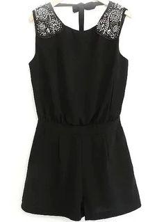 Black Sleeveless Backless Bead Jumpsuit 27.17