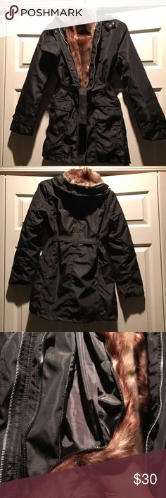 "Black Nylon Parka Coat with lining Black hooded nylon parka coat NWOT has a zip out removable faux-fur insert. This coat is fully lined without the insert (see last pic). I just received this coat in the mail! It is supposed to be an XXL but it fits like a small/medium so I'm listing it as a small/medium. I don't want to go through the hassle of sending it back to where it came from  (Out of country) so I'm selling it here. Measurement from shoulder to shoulder is 15"". From shoulder to hem…"