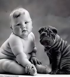 Two little cuties, baby and sharpei / photo: Anne Geddes on Photobucket