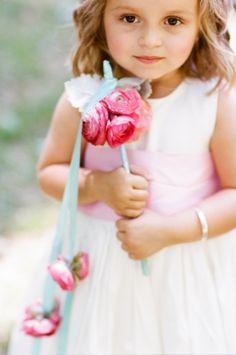 Flower girl ribbon baton \ floral design by amyosaba.com \ photography erinheartscourt.com