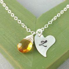 November Birthstone Jewelry, Citrine Necklace, Birthday Gift, Monogram Necklace, Initial Birthstone Jewelry, Christmas Gift, Heart, Unique. $34.00, via Etsy.