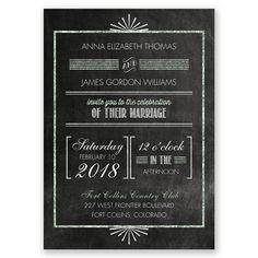 Real Glitter Typography Photo Wedding Invitation | Art Deco, Glamorous at Invitations By David's Bridal