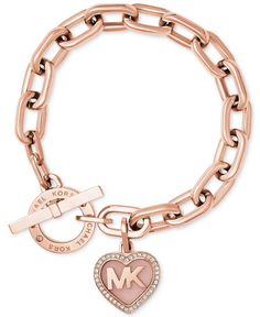 Michael Kors Rose Gold-Tone Pavé Logo Heart Toggle Bracelet – Michael Kors – Je… Michael Kors Rose Gold-Tone Pavé Logo Heart Toggle Bracelet – Michael Kors – Jewelry & Watches – Macy's - My Accessories World Pulseras Michael Kors, Bracelet Michael Kors, Bijoux Michael Kors, Michael Kors Armband, Michael Kors Schmuck, Boutique Michael Kors, Sac Michael Kors, Michael Kors Rose Gold, Michael Kors Outlet