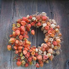 CHINESE LANTERN  autumn dried flower wreath, via Etsy.  Made with dried Chinese Lantern blooms .