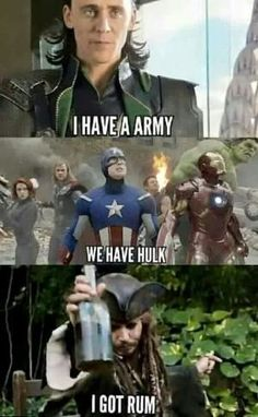 Why is the rum gone! Funny Laugh, Haha Funny, Funny Jokes, Hilarious, Funny Stuff, Funny Things, Random Stuff, Loki, Oh The Humanity