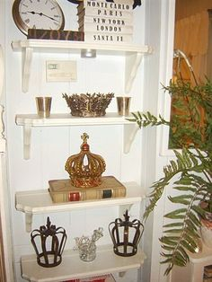 Crowns - i'd love this shelf in my house. haha, mike - prob not so much