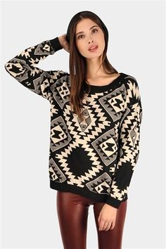 Navajo Print Sweater - Black