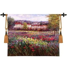 Floral Landscape Tuscan Pleasures II Tapestry Wall Hanging #BeddingNMore #Tuscan #Decor #Decorating #Tapestry #Art