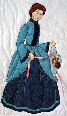 """#11 """"Bonnet Girl Relatives & Friends"""" Lucinda $6.50. Its a warm day and Lucinda has removed her flower and lace bonnet in her hands. Her skirt is ribbon trimmed appliqué."""