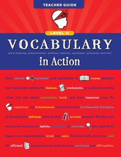 Vocabulary in Action gives students the boost they need to increase their ability to read, write, listen, speak, and perform well on standardized tests and high school entrance exams. This program offers you a variety of methods and exercises to get . English Grammar Book, English Grammar Worksheets, English Writing Skills, English Book, English Words, English Lessons, English Vocabulary, Teaching English, Learn English