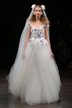 This Naeem Khan gown with gorgeous embroidered blue flowers. | 27 Ridiculously Pretty Wedding Dresses To Look At While The World Burns