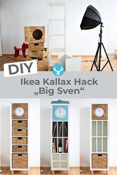 "Pimp it Baby - Ikea Kallax Regal Hack ""Big Sven"" This turns the Ikea Kallax shelf into a stylish eye-catcher in Big Ben style for the living room, c Ikea Kallax Shelf, Ikea Kallax Hack, Ikea Kallax Regal, Ikea Shelves, Baby Ikea, Baby Zimmer Ikea, New Swedish Design, Ikea Billy, Big Girl Rooms"