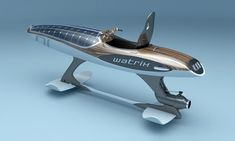 The Watrix is an electric personal watercraft that also doubles as a hydrofoil. It uses solar power to recharge its ion-lithium batteries, and its body is made of Kevlar fibre. Yacht Design, Boat Design, Hover Bike, Pedal Boat, Water Surfing, Wooden Boat Building, Cool Boats, Boat Stuff, Yacht Boat