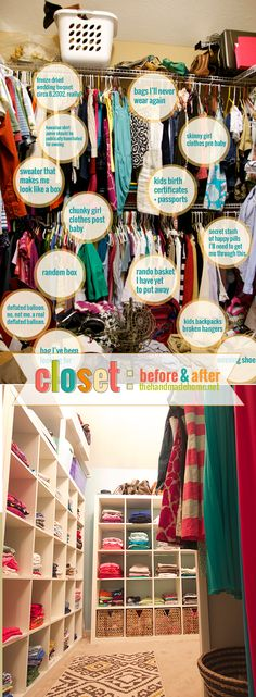 Nightmarish Closet Overhaul - those awful wire shelves were replaced with IKEA cubbies & peg boards - what a transformation!!!