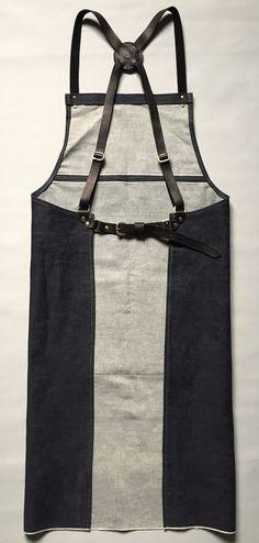 Denim and black leather cross back apron denim by PAULAKIRKWOOD