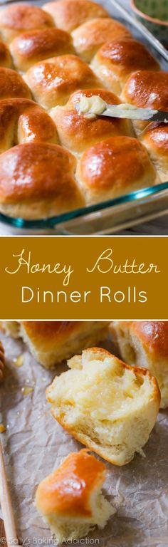 How to make soft and fluffy honey butter dinner rolls! Grab the tried & true recipe on sallysbakingaddiction.com