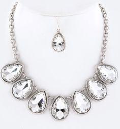 Teardrop Crystal Statement Necklace Set