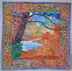 Batik fabric autumn mini quilt wall hanging with by KindredColors, $55.00