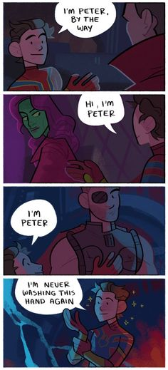"A four panel comic. Peter Parker offers a handshake to Doctor Strange, then Gamora, then Thor. In the last panel he says ""I'm never washing this hand again,"" while looking starstruck."