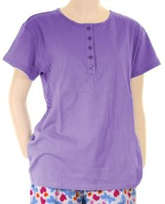Snoozies Loungewear Womens Henley Cotton Short Sleeve Pajama Shirt Snoozies. $10.00