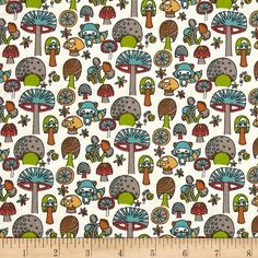 Designed by Rebekah Ginda for Birch Organic Fabric, this GOTS certified organic cotton print fabric is perfect for quilting, apparel and home décor accents. Colors include teal, orange, red, gold and green on a cream background.