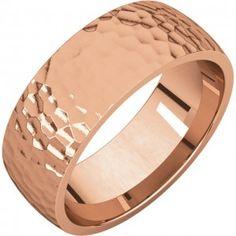 14k Rose Gold 7mm Hammer Finish Comfort Fit Wedding Band - Sarraf.com