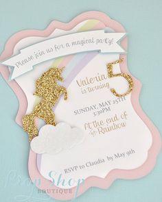 Unicorn Kisses Birthday Invitation by propshopboutique on Etsy https://www.etsy.com/listing/205071036/unicorn-kisses-birthday-invitation