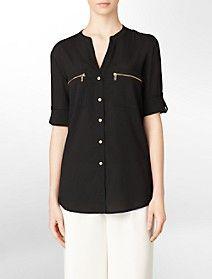 mandarin collar exposed zip detail roll-up sleeve top $59.50