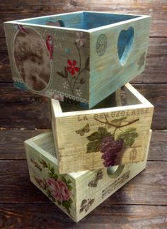 Altered Boxes, Altered Art, Stencil Wood, Diy And Crafts, Paper Crafts, Reclaimed Wood Art, Decoupage Vintage, Pretty Box, Country Crafts