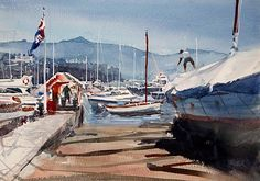 """Kazuo Kasai      """"Busy Harbor"""" at Santa Margherita Ligure 36cm×51cm"""