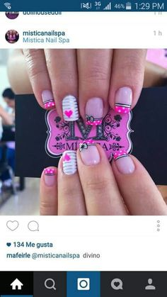 Ideas Birthday Nails White Nailart For 2019 Funky Nail Art, Funky Nails, Cute Nail Art, Trendy Nails, Fondant Flower Cupcakes, Pink Cupcakes, Hot Pink Nails, White Nails, Hair And Nails