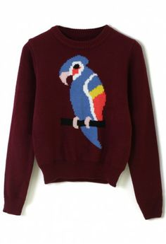 Parrot Intarsia Knitted Sweater
