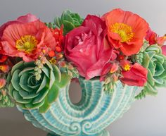 flowers, the succulents and the vintage vase