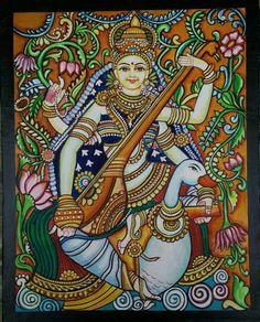 Saraswathi Mural painting by Smt Mangalam Srinivasan Kalamkari Painting, Krishna Painting, Madhubani Painting, Saraswati Painting, Worli Painting, Kerala Mural Painting, Figure Painting, Buddha Painting, Pichwai Paintings