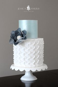 Neat ruffle cake with Straight edges. No one will want to eat this wedding cake wedding cakes cakes elegant cakes rustic cakes simple cakes unique cakes with flowers Huge Wedding Cakes, Beautiful Wedding Cakes, Gorgeous Cakes, Wedding Cake Designs, Pretty Cakes, Cute Cakes, Amazing Cakes, Fondant Cakes, Cupcake Cakes