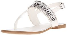Fergalicious Womens Frazzel Flat Sandal White 55 M US ** This is an Amazon Affiliate link. More info could be found at the image url.